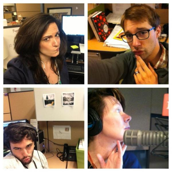 "In looking at the emergence of social media self-portraits, or ""selfies,"" the Word of Mouth team took a minute to take their own. Clockwise from top left, selfies of Rebecca Lavoie, Taylor Quimby, Zach Nugent, and Virginia Prescott."