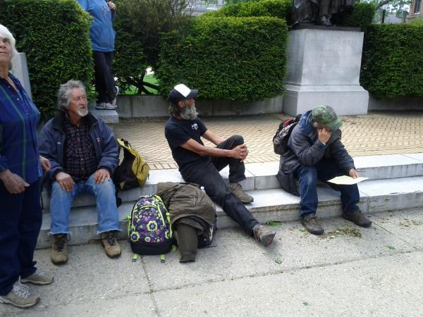 The three homeless men represented in a recent eviction lawsuit at a rally this week at the State House.