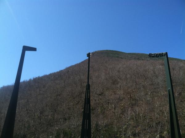 Beams with the silhouette of the Old Man of the Mountain stand at the Profile Plaza. May 3rd marks the 10th anniversary of the profile's collapse.