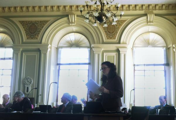 Senator Molly Kelly of Keene speaks on the Senate floor on Thursday.