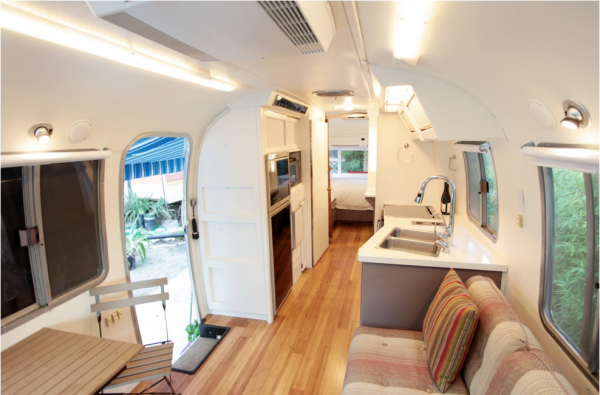 """Posh interior of the """"San Clemente"""", available for rent starting at $179 per night."""
