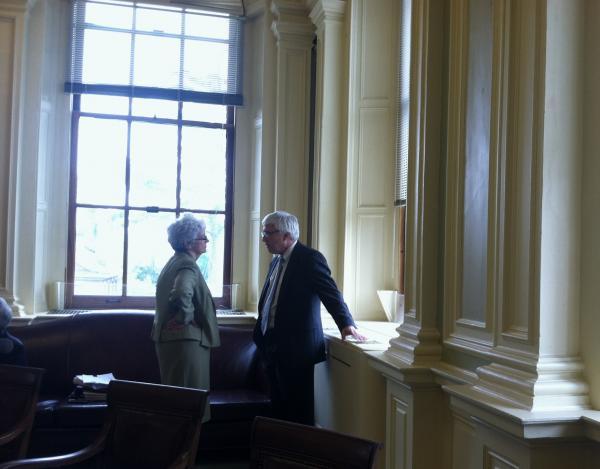 Senator Nancy Stiles confers with Chuck Morse during a break in Thursday's session.