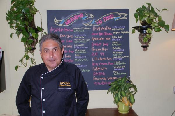 Republic's chef and co-owner Edward Aloise and the list of the local farms that supply food to the Manchester restaurant.