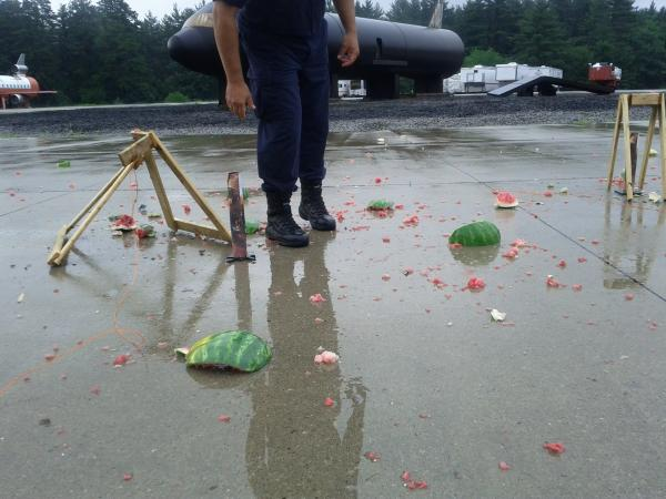 The gory aftermath of a fireworks safety demonstration. Some watermelon were harmed in the process.