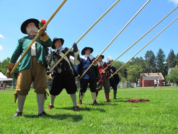 The Salem Trayned Band shows off their Pike drill at the Strawbery Banke Museum on July 4.