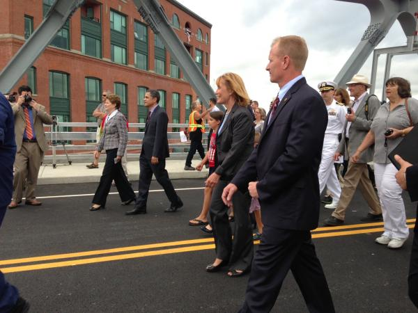 Sen. Shaheen, Sen. Ayotte and Gov. Hassan make their way across the newly-opened Memorial Bridge.