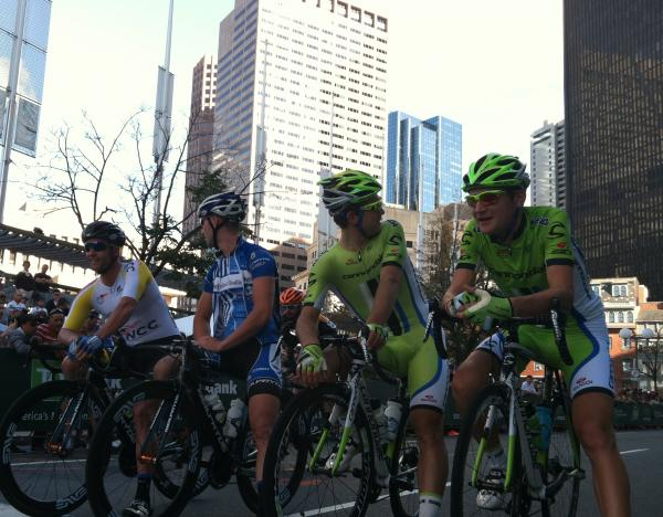 Ted King (right) chats with teammate Guillaume Boivin at the start of the Mayor's Cup Criterium