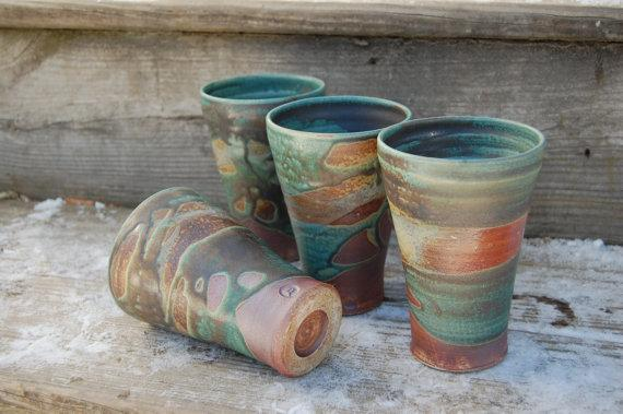 Set of 4 stoneware tumblers handmade by Jennie Blair (Value: $80) - just one of the items available in our fabulous silent auction!