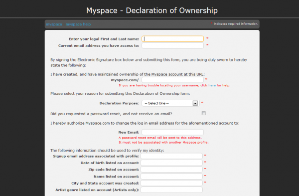 The MySpace Declaration of Ownership Form