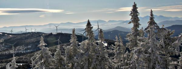 The Granite Reliable wind turbines line the mountain tops, including several targeted for ski slopes. Photo by Chris Jensen for NHPR