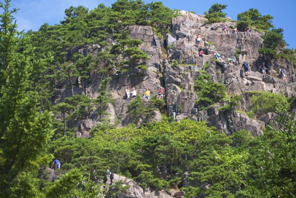 "Hiking ""The Beehive"" in July at Acadia National Park"