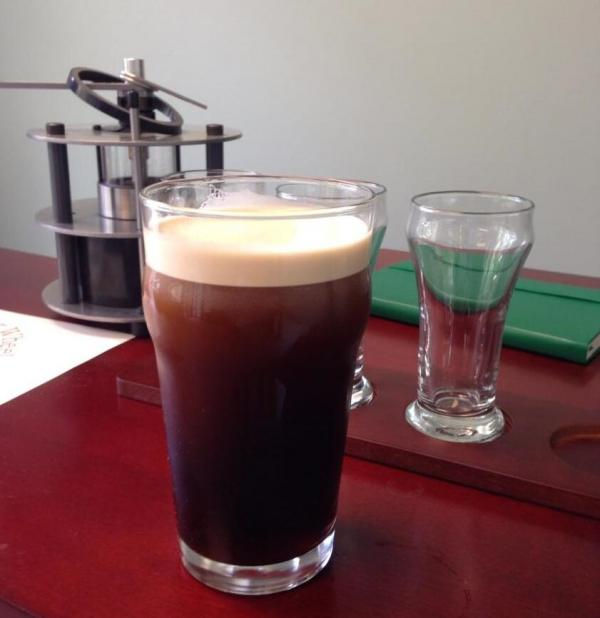 CQ's coffee out of a Guinness tap.