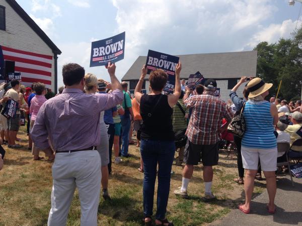 Supporters showed up to watch Mitt Romney endorse Scott Brown for U.S. Senate.