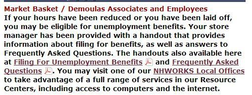 Screen-cap of the statement currently posted on The New Hampshire Department of Employment Security Website