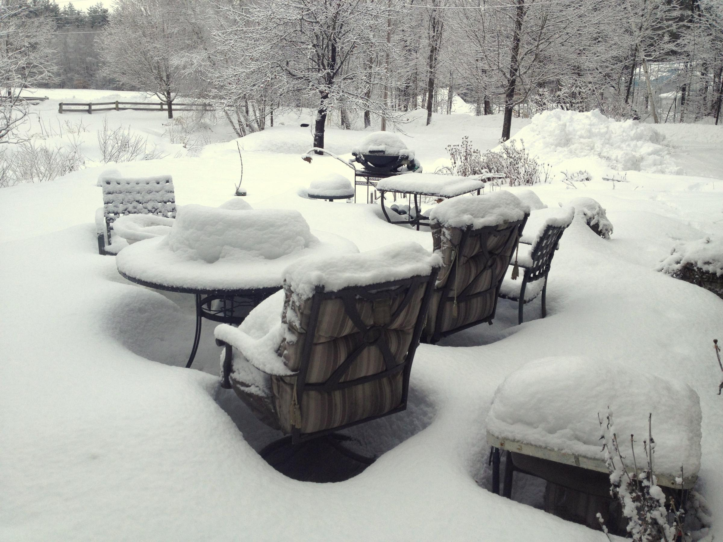 The subtle beauty of snow covered patio furniture new for Covered deck furniture