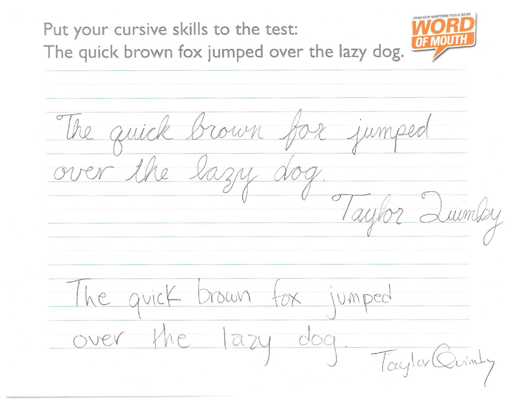 Worksheet Q In Cursive putting our cursive skills to the test new hampshire public radio after being cursed with a capital q in his last name we think taylors handwriting looks better its current form
