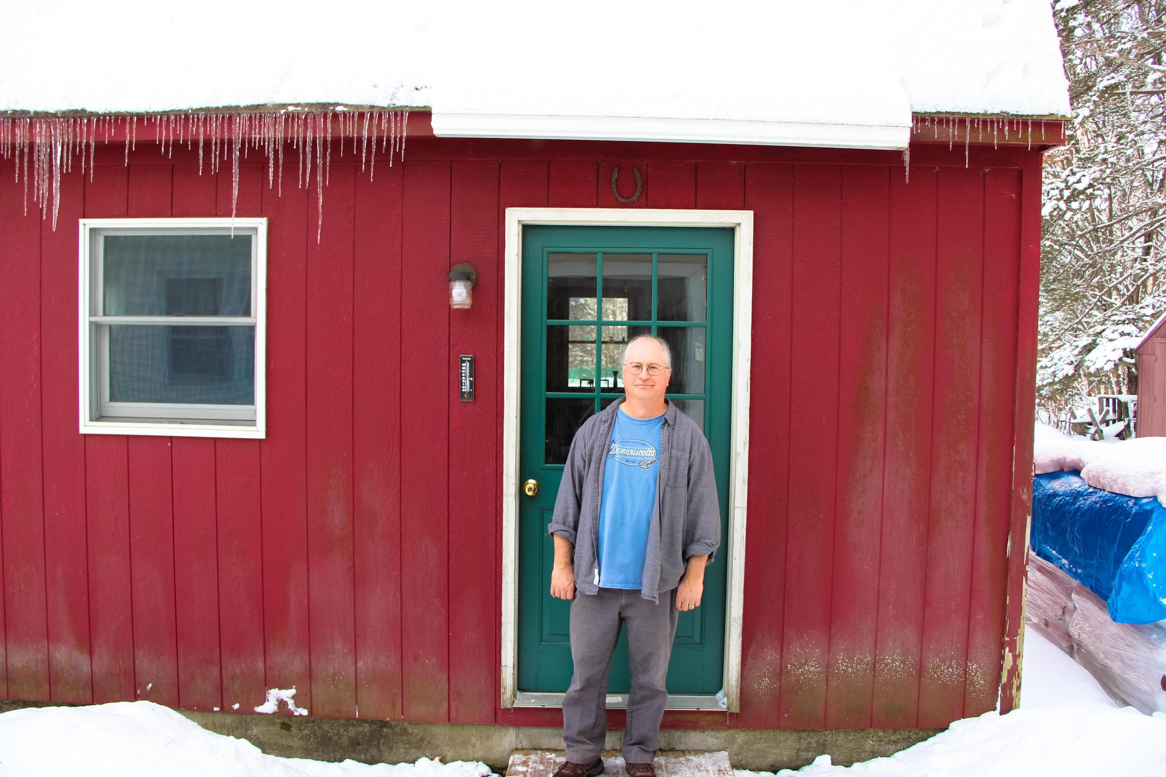 Cartoon red barn doors - Marland In Front Of The Red Barn Where He Works