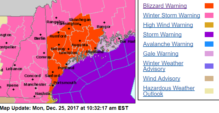 Blizzard warning issued for whiteout conditions in central, southern Maine