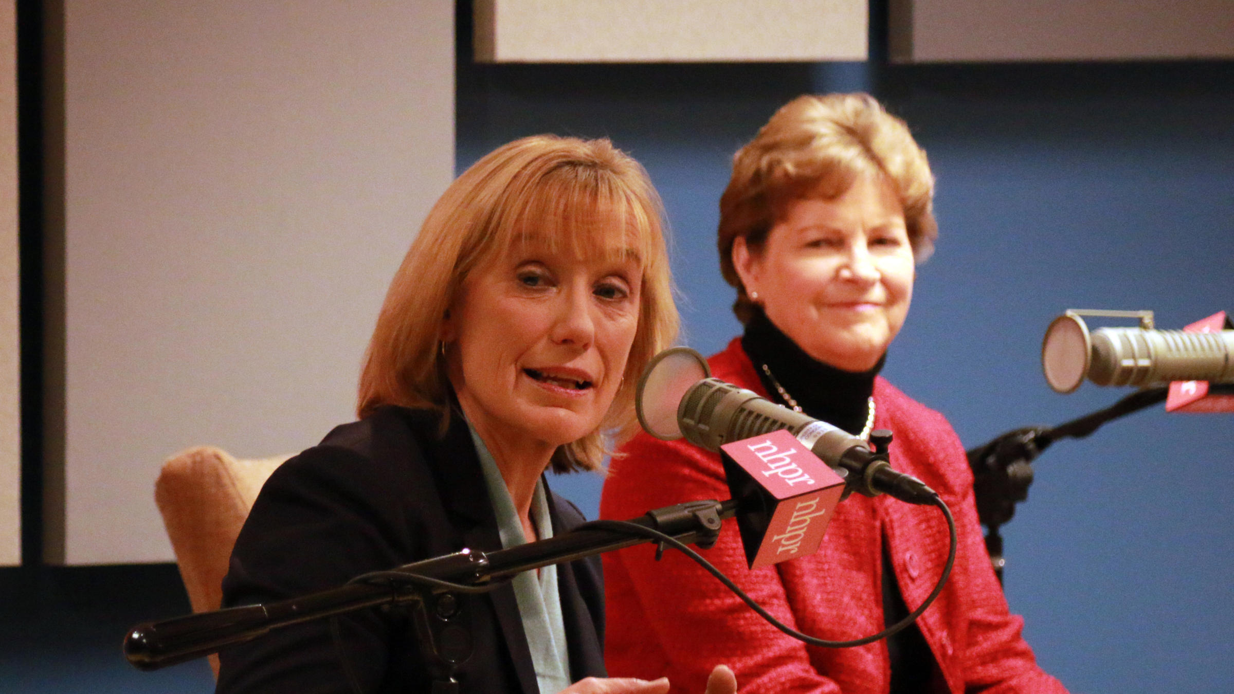 Senators Maggie Hassan and Jeanne Shaheen at an NHPR forum in January 2018