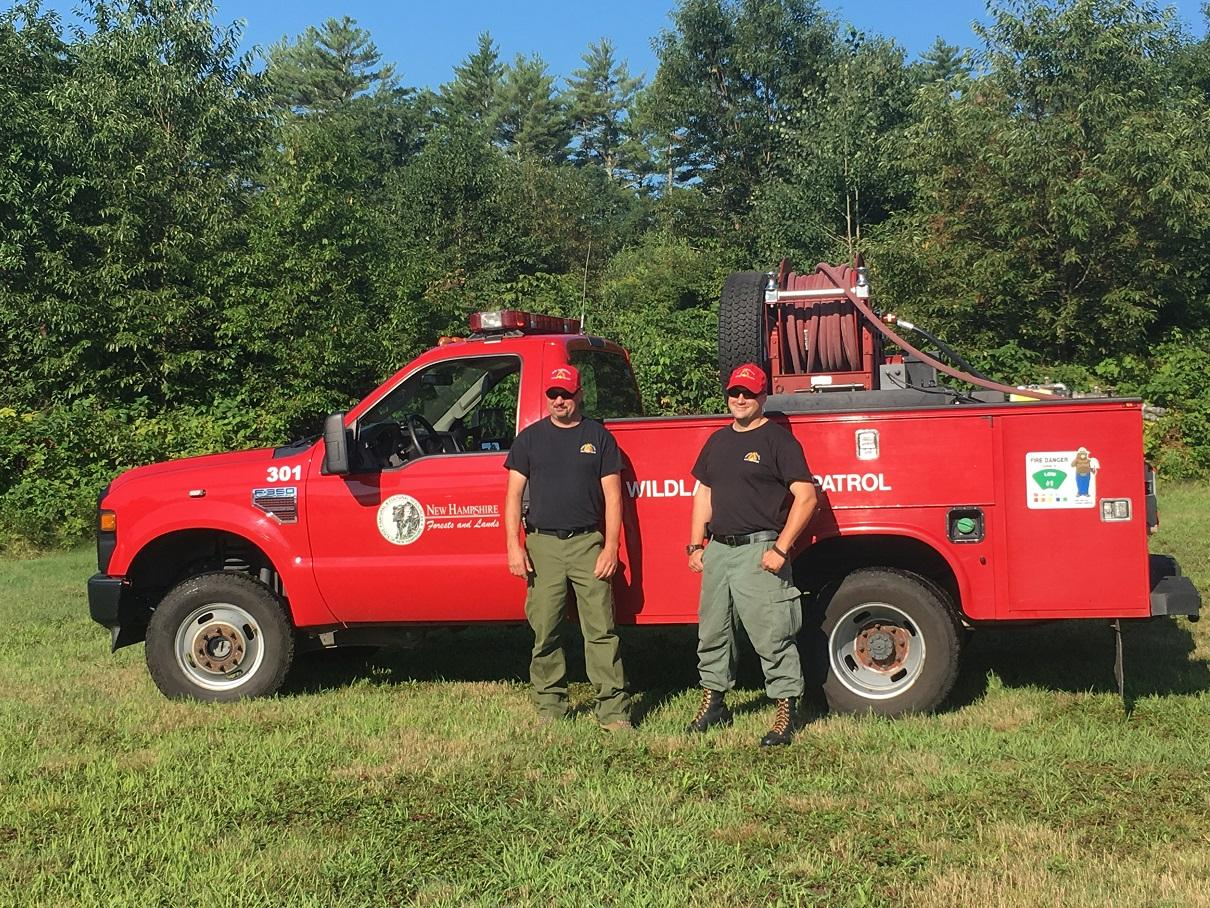 David Kullgren (L) and Tom Trask (R) are en route to California to battle the Mendocino Complex fire. Courtesy NH Department ...
