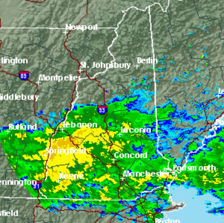 The National Weather Service radar map shows the rain storm over New Hampshire on Sept. 18 7 a.m