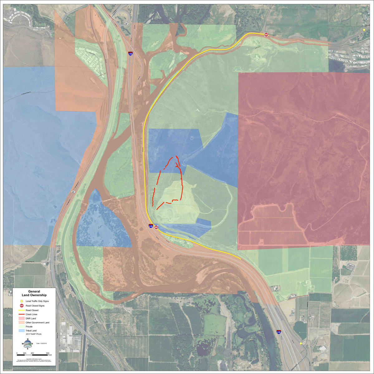 Click to expand. This map shows land ownership around Rattlesnake Ridge. The blue patches indicate tribal-owned land. CREDIT YAKIMA COUNTY OFFICE OF EMERGENCY MANAGEMENT