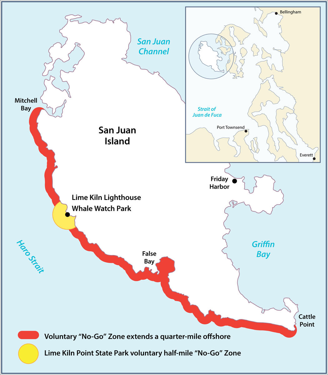 This map shows the new, voluntary ''no-go'' zone for motor boats along west side of San Juan Island. CREDIT: WDFW