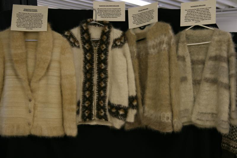 Examples of dog fur sweaters at the Oregon Flock and Fiber Festival.