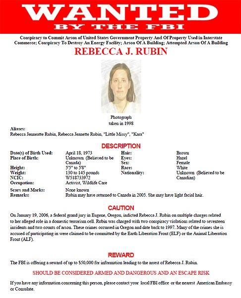 FBI Most Wanted Poster - Rebecca J. Rubin
