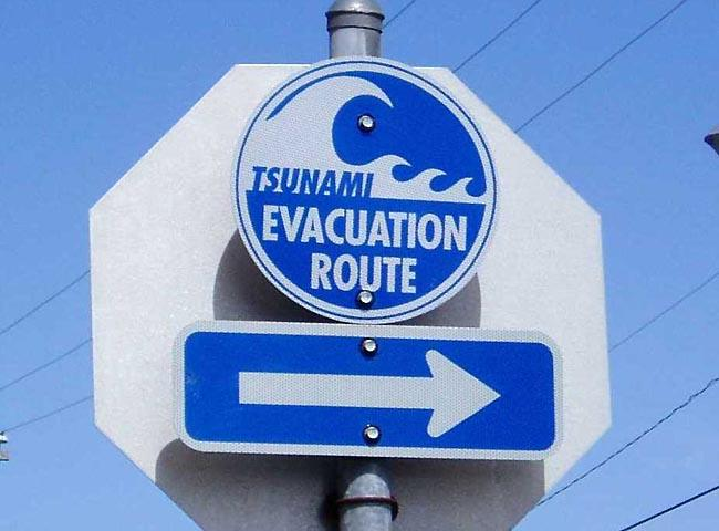Tsunami evacuation sign along the Oregon coast.