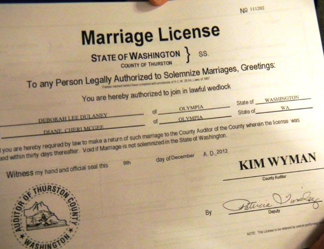 For Dulaney and McGee the license solidifies the commitment they made to each other at a big ceremony in 2003.