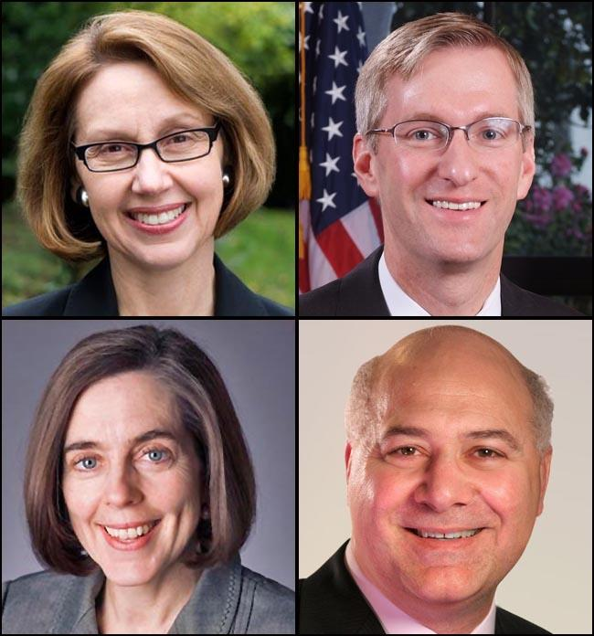Clockwise from upper left: Attorney General Ellen Rosenblum, State Treasurer Ted Wheeler, Labor Commissioner Brad Avakian, Secretary of State Kate Brown