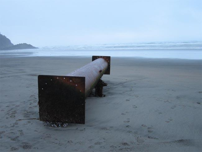 A 19-foot-long metal pipe landed at Cape Disappointment near Ilwaco, Wash.