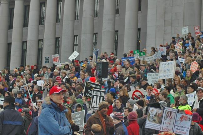 Anti-abortion protesters rallied on the steps of the Washington state capitol