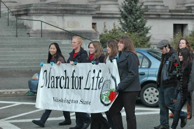 Anti-abortion protestors gathered in Olympia to mark the 40th anniversary of Roe v. Wade.
