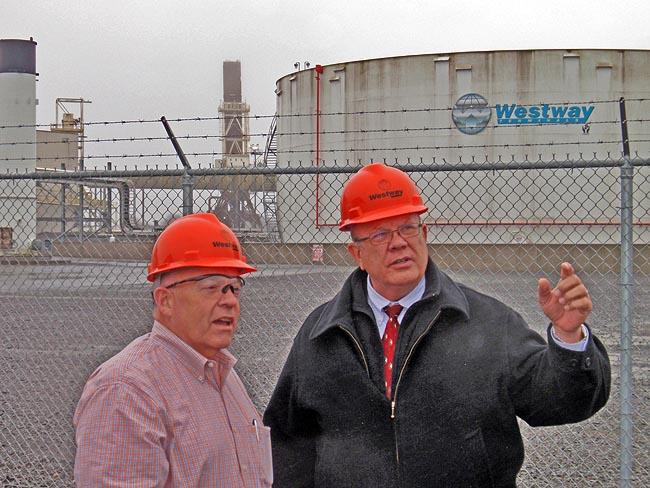 Westway Terminals VP Robbie Johnson and regional manager Ken Shoemake discuss the proposed expansion of this Aberdeen facility to receive crude oil by rail and transfer it to oil tankers or barges.