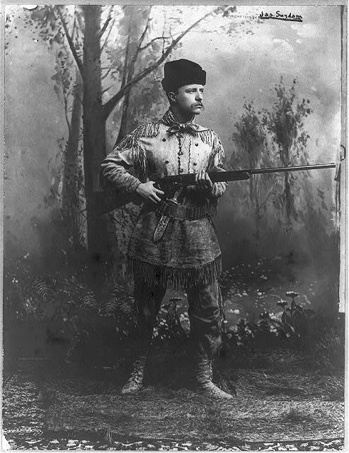 Theodore Roosevelt in his buckskin hunting suit around 1885.
