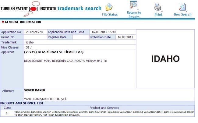 The trademark application from agricultural company Beta Ziraat.