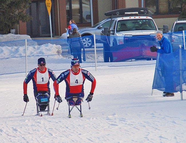 U.S. Paralympic National Team members including Sean Halsted (left) race during a high-performance training camp in Ketchum/Sun Valley earlier this February.