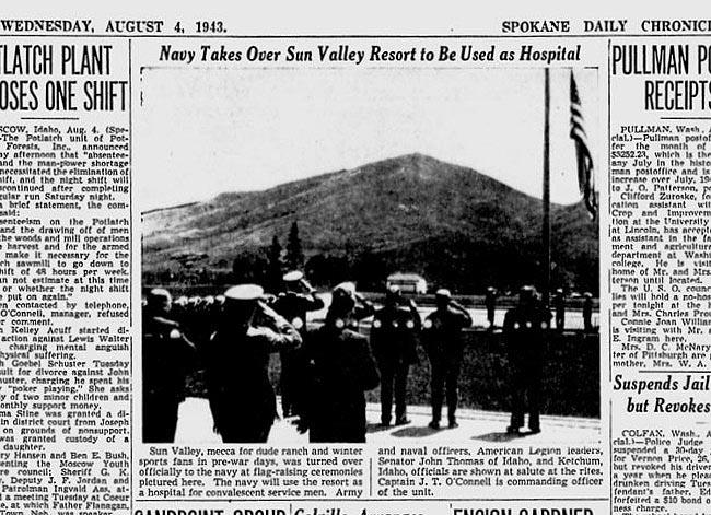 In 1943, the U.S. Navy temporarily converted Sun Valley Resort into a convalescent center for injured vets.