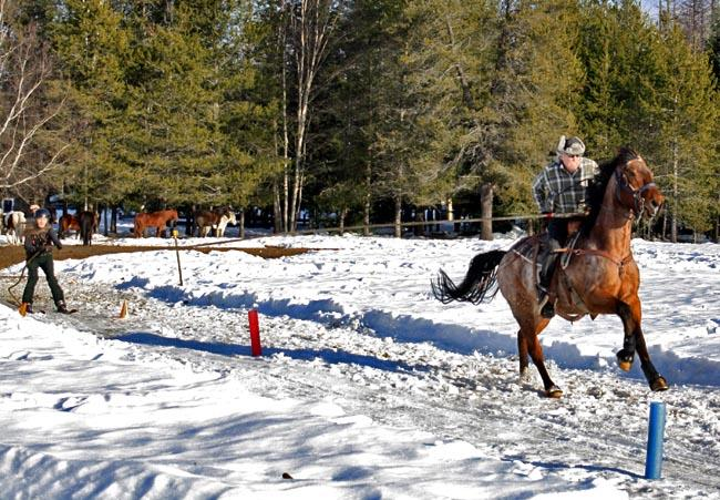 Skijoring teams practice outside of Sandpoint, Idaho.