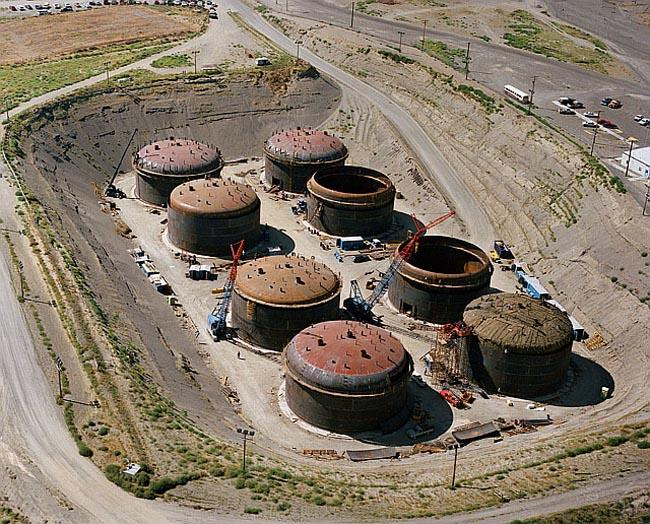 Nuclear waste storage tanks at the Hanford Site.