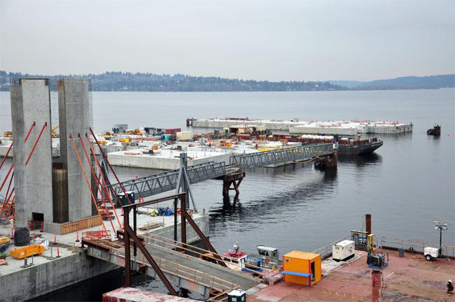 One of the pontoons for the new 520 bridge over Seattle's Lake Washington as seen on January 14, 2013.