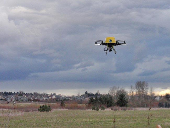 Patrick Sherman's drone hovers over a park in Wilsonville, Oregon.