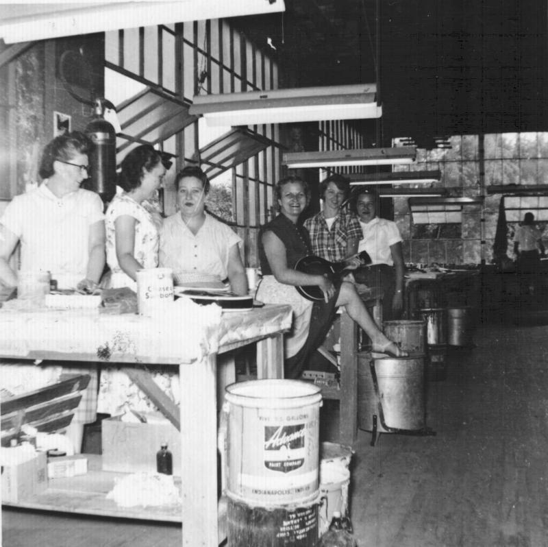 Inside the Gibson guitar factory during WWII.