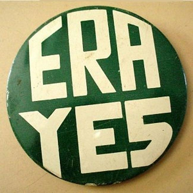 A vintage Equal Rights Amendment pin from the 1970s.