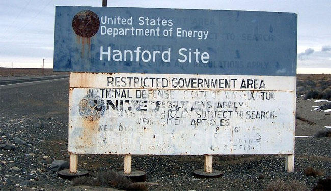 Highway sign on a road entering the Hanford Site.