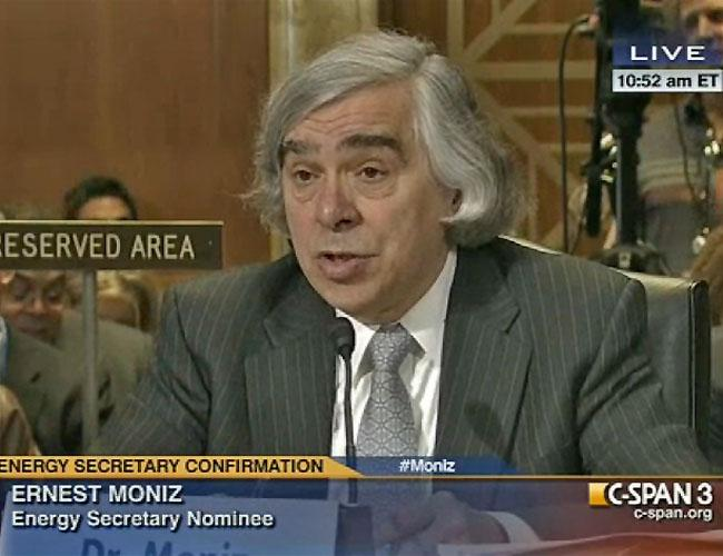Ernest Moniz, President Barack Obama's nominee for Energy Secretary, testifies in front of a Senate panel.