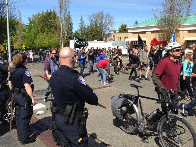 There was a big police presence on the streets of Olympia for the May Day march.