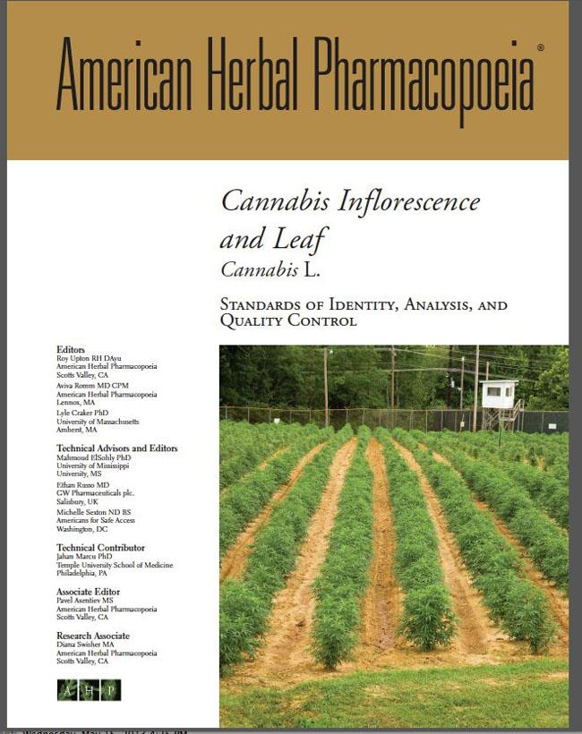 This is the cover page for the spiral bound Cannabis Monograph that will guide testing labs for Washington's new recreational marijuana marketplace.